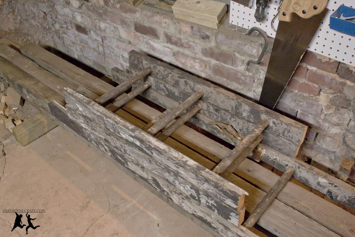 Ladder Roof Rack >> Antique Ladder Pot Rack – DIY   Old House Crazy
