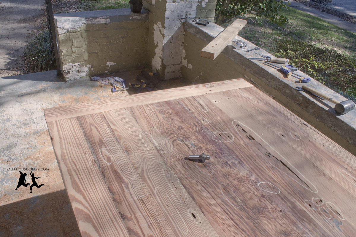 Reclaimed Heart Pine Farmhouse Table – DIY – Part 2 – Glue Up and Bread Board Ends | Old House Crazy