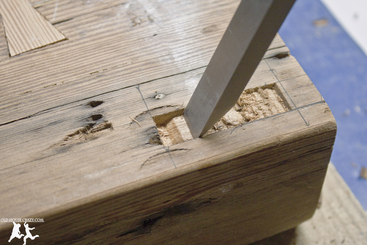 Reclaimed Heart Pine Farmhouse Table DIY Part 4 Mortise