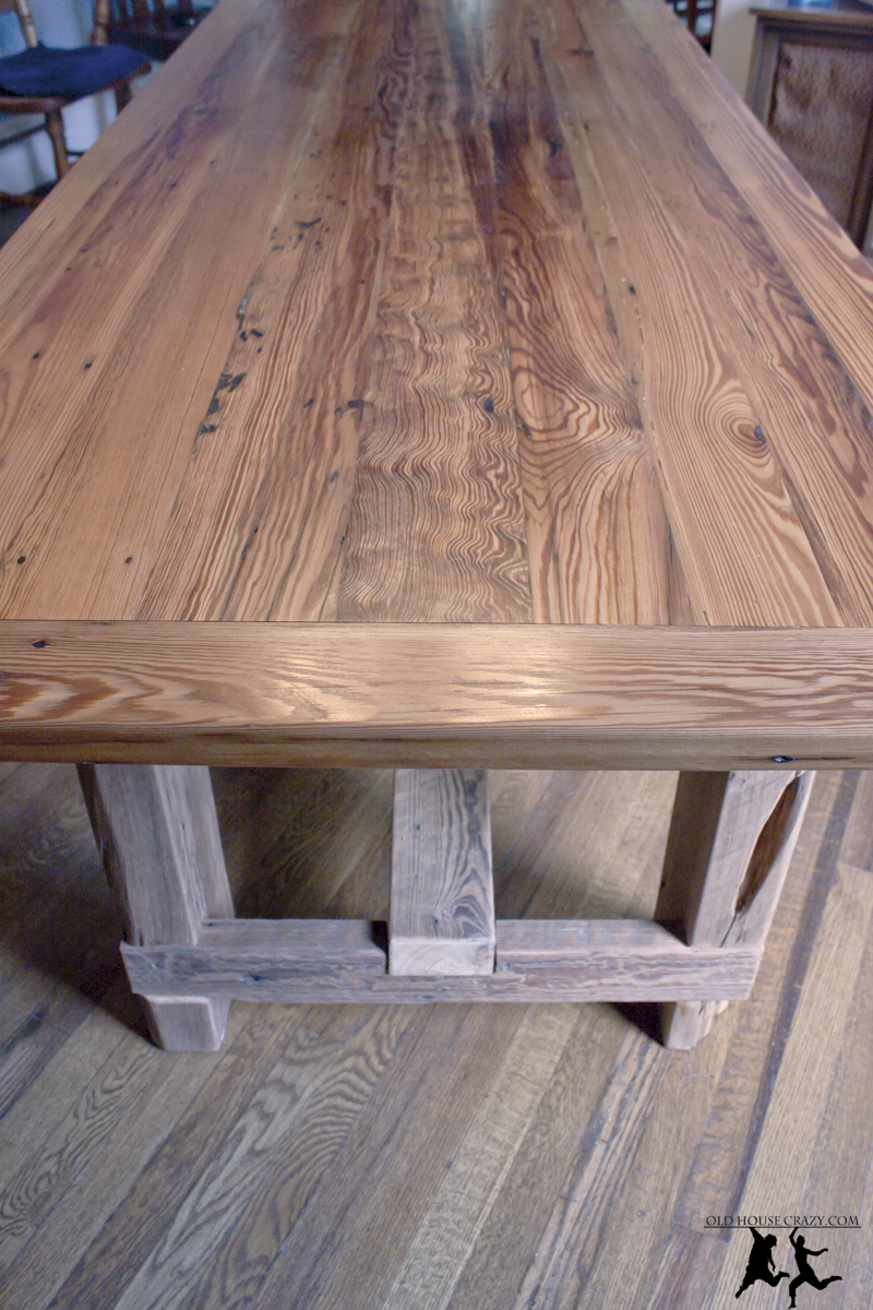 reclaimed heart pine farmhouse table diy part 5. Black Bedroom Furniture Sets. Home Design Ideas
