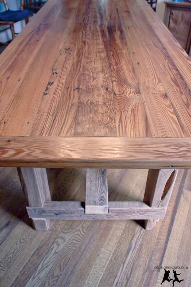 Reclaimed heart pine farmhouse table diy part 5 for Yellow farmhouse table