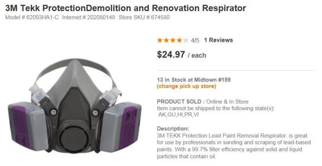 Home Depot 3M Respirator for lead based paint